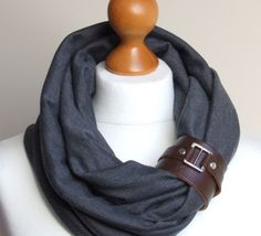 HIGH STREET Fashion Circle Scarf Shawl Loop with leather clasp