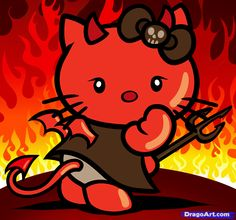 Devil Hello Kitty, Step by Step, Characters, Pop Culture, FREE Online Drawing… Hello Kitty Art, Hello Kitty Tattoos, Hello Kitty My Melody, Hello Kitty Pictures, Here Kitty Kitty, Bad Kitty, Sanrio, Hello Kitty Halloween, Hello Kitty Characters