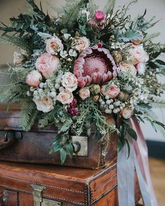 Shade Garden Flowers And Decor Ideas Bouquet Flowers Pink Foliage Roses Protea Bride Bridal Ribbons Industrial Into The Wild Greenery Wedding Ideas Bridal Flowers, Flower Bouquet Wedding, Floral Wedding, Bouquet Flowers, Fall Wedding, Green Wedding, Protea Wedding, Rustic Wedding, Chic Wedding