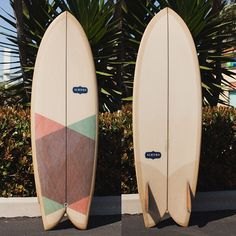 5'7 Pogie Fish with rice paper inlay and glass on Ply-wood fins #almondsurfboards (at Almond Surfboards)