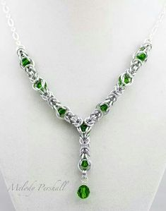 green crystal, necklac, jewelri inspir, fern green, chainmaill
