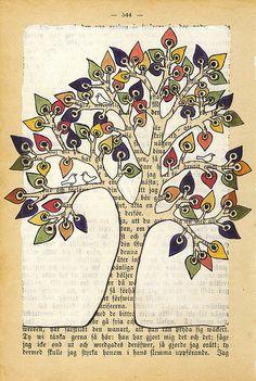 arbre sur feuille de vieux livre