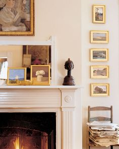 In a corner of the sitting room, a David Levine drawing, a Dogon bust, stacked French landscapes, and two small paintings all mingle around the fireplace.Tour the Rest of the Home