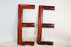 Old Porcelain Letter E, Metal Letter E, Red letter E, Capital E