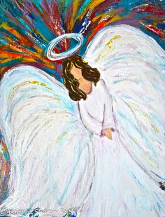 Acrylic Painted Angel In Beautiful Colors by sharonruthdesigns
