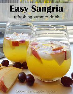 Sangria Recipe For A Crowd, Sangria Recipes, Summer Drink Recipes, Alcohol Drink Recipes, White Wine Sangria, Sweet White Wine, Refreshing Summer Drinks, Cocktails, Alcoholic Beverages