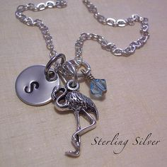 Petite Flamingo Charm Necklace  Personalized by MadisonCraftStudio, $30.00