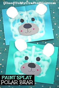 Paper and Paint Splat Polar Bear - Winter Kid Craft Idea - Winter Crafts & Activities - Paper and Paint Splat Polar Bear – Winter Kid Craft Idea - Winter Art Projects, Winter Crafts For Kids, Winter Kids, Art For Kids, Preschool Winter, Daycare Crafts, Toddler Crafts, Diy Lego, Winter Thema