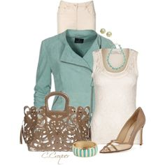 """Madeleine Mint Leather Jacket"" by ccroquer on Polyvore"