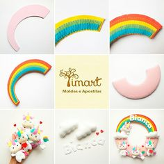Veja o como fazer uma guirlanda dupla-face de arco-iris em feltro no blog: www.timart.com.br/blog, ou clique em visitar, para ver o tutorial completo!