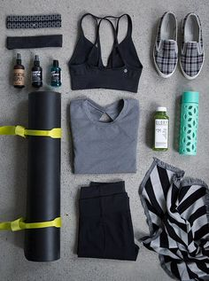 Fly Away Tamer Headband///Party Om Headband////Seamlessly Plunge Bra///Pure Focus Glass Waterbottle///Glory Juice Co.///Pranayama Scarf///Straight Up Pant///The Mat 3mm///Loop It Up...