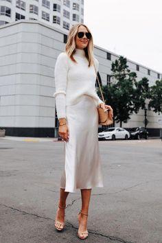 Fashion Jackson Wearing Banana Republic White Fuzzy Sweater White Slip Midi Skirt Winter White Party Outfit 1 Source by fashion_jackson ideas how to style Party Fashion, Look Fashion, Winter Fashion, Holiday Fashion, Classy Fashion, Teen Fashion, Fashion Women, Petite Fashion, Chic Fashion Style