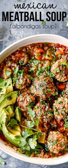 Albondigas Soup (Mexican Meatball Soup) is one of my favorite soups! It's loaded with juicy, herb and rice infused meatballs, veggies all simmered in a bold, aromatic tomato broth – and of course toppings! via Carlsbad Cravings Mexican Meatball Soup, Mexican Meatballs, Albondigas Soup Recipe Mexican, Swedish Meatball, Easy Soup Recipes, Dinner Recipes, Cooking Recipes, Healthy Recipes, Carrot Recipes