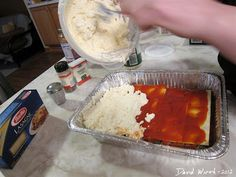 Homemade Lasagne  http://davewirth.blogspot.com/2012/03/homemade-lasagne.html  A great recipe for homemade lasagne using no-bake noodles.  Pictures and steps for baking.  aluminum foil, beef, cheese, homemade lasagne, ingredients, lasagne, noodles, oven