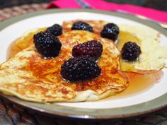 Easy Skinny Two Ingredient Pancakes that are Gluten-Free and Flourless!  This is a game changer in the mornings.