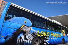 Rotulación Loro Parque. Contacta con nosotros en el 922 646 824 o vía email a mailto:comercial@... #publiservic #rotulacion #autobus Parrot, Vehicles, Animals, Advertising, Parks, Parrot Bird, Animales, Animaux, Car