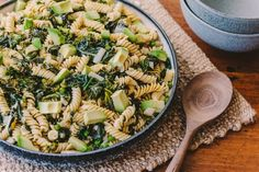 Spiral Pasta With Braised Greens — Farm to Fork Braised Greens Recipe, Ella Vegan, Spiral Pasta, Veggie Patch, Latest Recipe, Vegetable Stock, How To Cook Pasta, Places To Eat, Healthy Cooking