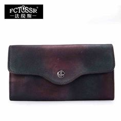 2016 vintage cowhide handmade day clutch casual female multi card holder wallet small bag