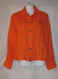 Bid starts at .99 cents  Chicos Size 1 Shirt NEW Womens Small Shirt NEW Ladies Size 8 Top Linen Orange ~