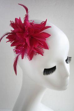Multi purpose big fuchsia flower headpiece and brooch by missvirgouk on Etsy, $9.50