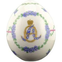 Russian Imperial Porcelain Easter Egg with Cypher of Alexandra Feodorovna