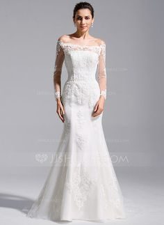 Trumpet/Mermaid Off-the-Shoulder Cathedral Train Tulle Lace Wedding Dress (002071760) - JJsHouse.  $320