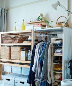 じぶんで編集する、コンパクトな団地くらし。 | MUJI SUPPORT 事例集 | 無印良品 Interior Concept, Wardrobe Rack, Organize, Organization, Room, Closet, Furniture, Ideas, Home Decor