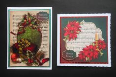 Christmas Sheet Music Bumper Kit on Craftsuprint created by Shelagh E Osborn Wright - I have made up several  designs of this fab bumper kit.The primary gallery image is printed on super smooth card,matted to mirror card and attached to a dark red card with double sided tape. I  decoupaged the flowers, embellished with liquid pearls and gold stickles amd added a greeting with 2mm foam.The square designs I reduced to fit 6inch cards,have printed onto both glossy and matte photo paper,matted…