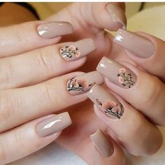 Salve este Pin e clique 2 vezes na foto, Receba mais de 100 ideias internacionais de unhas pintadas, Vc vai amar! Stylish Nails, Trendy Nails, Cute Nails, Matte Acrylic Nails, Nail Art Designs Videos, Flower Nail Designs, Floral Nail Art, Minimalist Nails, Luxury Nails