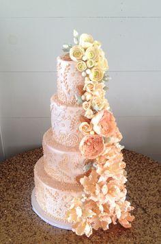 Pink and cream sugar flower cascade