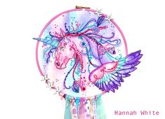 Beautiful Unicorn/Pegasus embroidered by Hannah White.