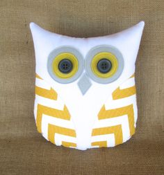 decorative owl pillow grey yellow nursery by whimsysweetwhimsy, $34.00