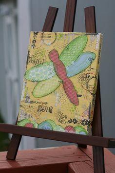 etsy+canvas+art | dragonfly--8x10 original mixed media canvas art on Etsy, $55.00