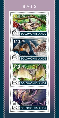 Post stamp Solomon Islands SLM 15218 aBats (Eidolon helvum, Macroderma gigas, Rousettus aegyptiacus, Artibeus jamaicensis)