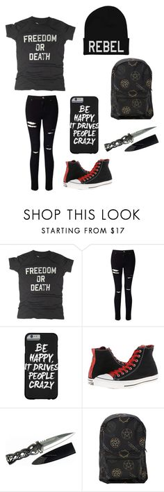 """""""Untitled #48"""" by darksoul7 ❤ liked on Polyvore featuring Worn Free, Miss Selfridge, Converse and Hot Topic"""