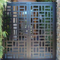 Contemporary Metal Dual Entry Gate Modern Pedestrian Walk Custom Iron Gar by Elise Mankosa