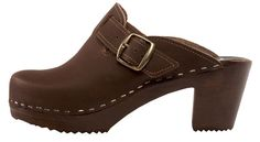 Perfect with jeans! A stylish designed brown mid heel with a classic buckle adorns the side of this nubuck leather clog