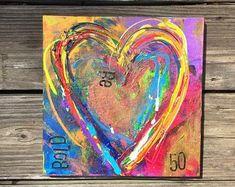 Heart painting, abstract art. Original heart painting. Wood panel. 10x10 painting. Wall art. Abstract art. Abstract painting. Heart art.
