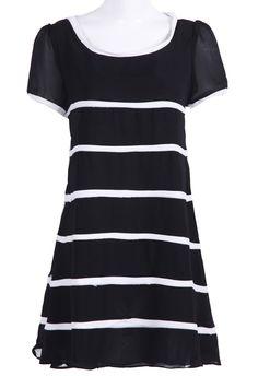 #SheInside Black Round Neck Short Sleeve Contrast Stripes Shift Dress - Sheinside.com