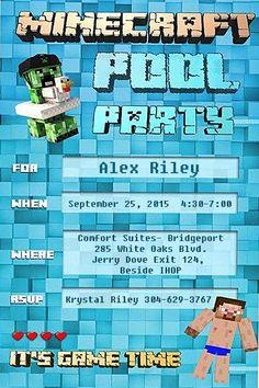 Minecraft Pool Party Birthday Invite