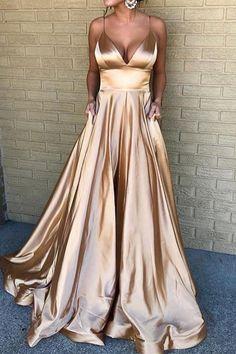 elegant light champagne v-neck prom evening dresses, fashion formal party gowns