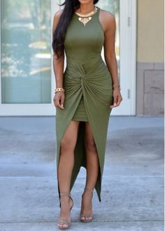 Army Green Slit Design Maxi Dress on sale only US$26.83 now, buy cheap Army Green Slit Design Maxi Dress at modlily.com