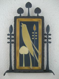 arts & crafts motawi songbird tile plaque in wrought iron