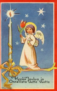 Martta Wendelin Christmas In America, Christmas Past, Retro Christmas, Vintage Christmas Cards, Christmas Angels, Xmas Cards, Christmas Greetings, Vintage Cards, Girl Face Drawing