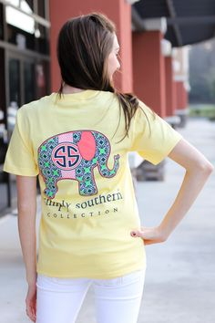 POST FROM - AnLi Link ♡ ≫≫ ( xanlilinkx ) ≪≪ . simply Southern is a preppy T-shirt collection. This yellow tee features a screen print a colorful elephant. Model is wearing a small. Body Width: M=. Simply Southern Shirts, Preppy Southern, Southern Girls, Southern Charm, Southern Prep, Preppy Girl, Preppy Style, My Style, Summer Outfits