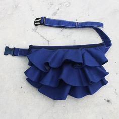 KINIES Ruffled Waist Purse in Royal Blue - Fanny Pack / Hip Bag. $38.00, via Etsy.