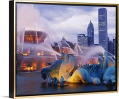 Canvas with Floating Frame entitled Fountains lit up at dusk, Buckingham Fountain, Grant Park, Chicago, Illinois, Gold