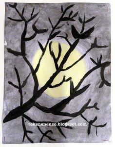 Door een leerling van groep 8 Benodigdheden: wit tekenpapier houtskool wit bordkrijt Oost-Indische inkt penselen Trek op het m...