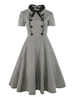 fc69a4f9aa3a Button Front Bow Tie Neck Gingham Shirt DressFor Women-romwe Vintage 1950s  Dresses