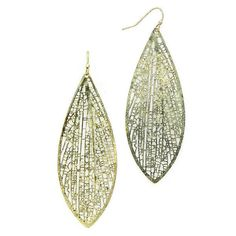 New Gold Burnished Filigree Leaf Earrings